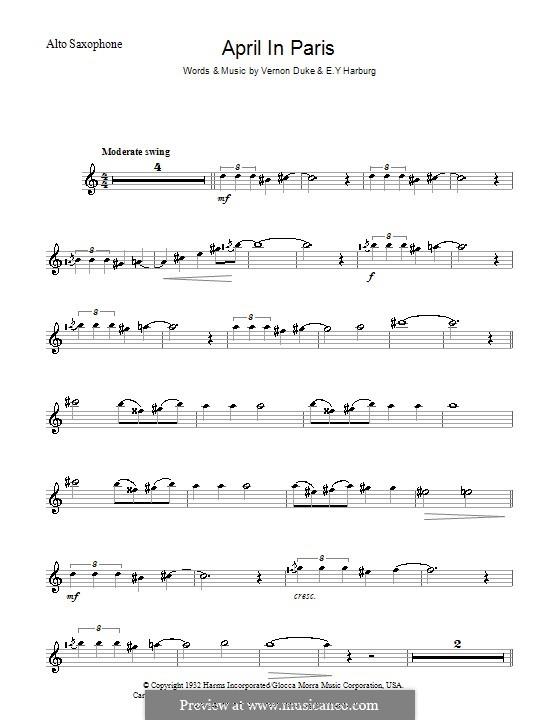 April in Paris: For alto saxophone by Vernon Duke
