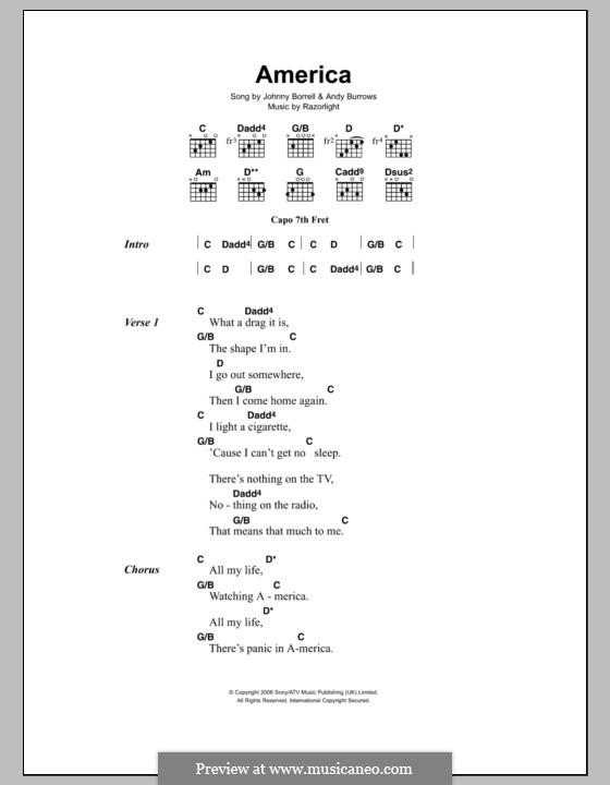 America (Razorlight): Lyrics and chords by Andy Burrows, Johnny Borrell