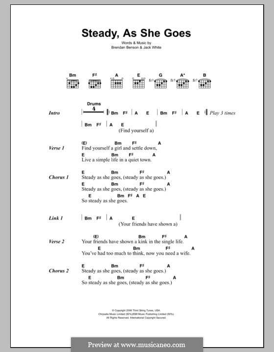 Steady, as She Goes (The Raconteurs) by B. Benson, J. White on MusicaNeo