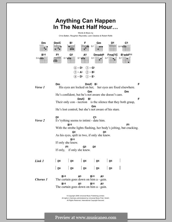 Anything Can Happen in the Next Half Hour (Enter Shikari): Lyrics and chords by Chris Batten, Liam Clewlow, Robert Rolfe, Roughton Reynolds