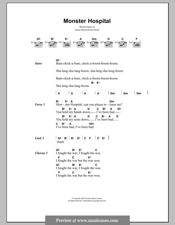 Monster Hospital (Metric): Lyrics and chords by Emily Haines, James Shaw