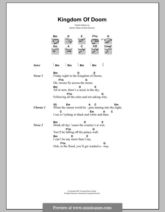Kingdom of Doom (The Good The Bad & The Queen): Lyrics and chords by Damon Albarn, Paul Simonon