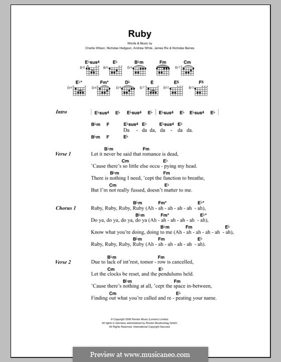 Ruby (Kaiser Chiefs): Lyrics and chords by Andrew White, James Rix, Nicholas Baines, Nicholas Hodgson, Charles Wilson