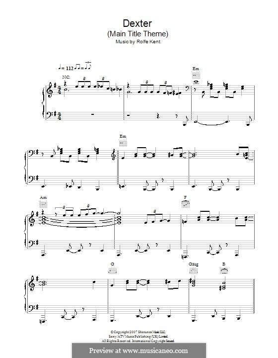 Dexter™ (Main Title Theme): For piano by Rolfe Kent