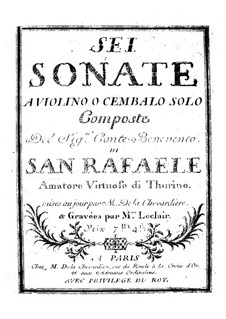 Six Violin Sonatas: Six Violin Sonatas by Benvenuto Robbio San Rafaele