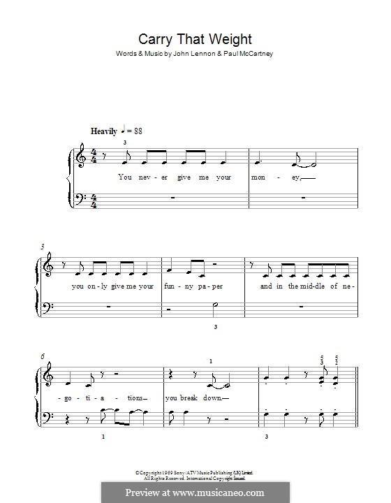 Carry That Weight (The Beatles): For easy piano by John Lennon, Paul McCartney