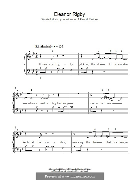 Eleanor Rigby (The Beatles): For easy piano by John Lennon, Paul McCartney