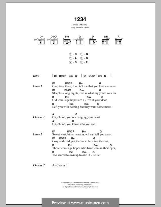 1234: Lyrics and chords by Leslie Feist, Sally Seltmann