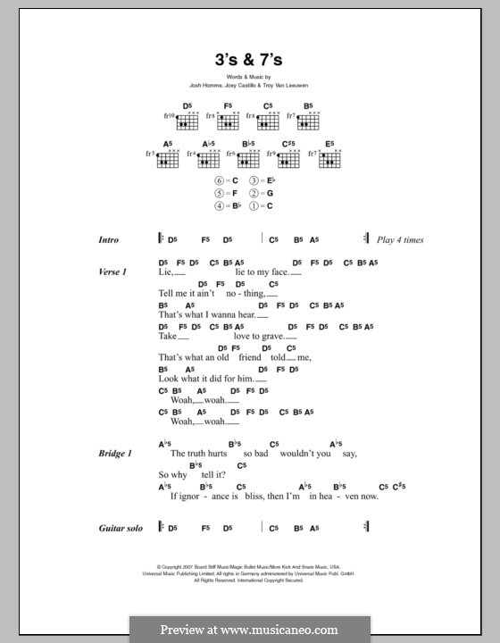 3's and 7's (Queens of the Stone Age): Lyrics and chords by Joey Castillo, Joshua Homme, Troy Van Leeuwen