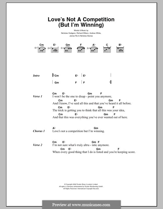 Love's Not a Competition (But I'm Winning): Lyrics and chords (Kaiser Chiefs) by Andrew White, James Rix, Nicholas Baines, Nicholas Hodgson, Charles Wilson
