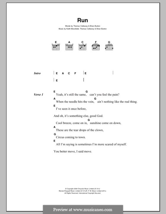 Run (Gnarls Barkley): Lyrics and chords by Brian Burton, Keith Mansfield,
