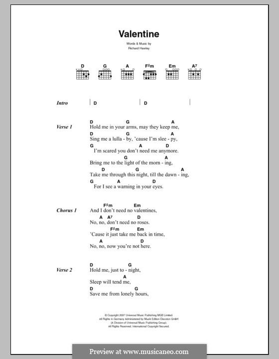 Valentine: Lyrics and chords by Richard Hawley