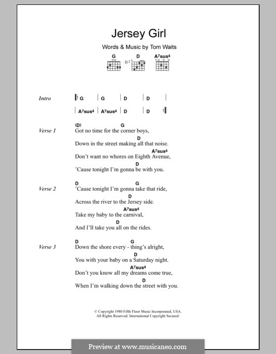 Jersey Girl S And Chords By Tom Waits