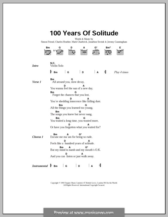 100 Years of Solitude (The Levellers): Lyrics and chords by Charles Heather, Jeremy Cunningham, Jonathan Sevink, Mark Chadwick, Simon Friend