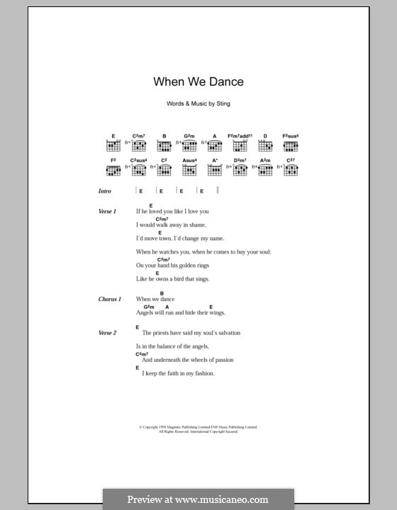 When We Dance: Lyrics and chords by Sting