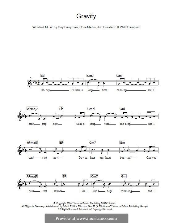 Gravity (Embrace): For keyboard by Chris Martin, Guy Berryman, Jonny Buckland, Will Champion