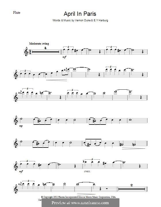 April in Paris: For flute by Vernon Duke