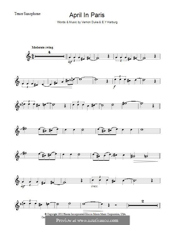 April in Paris: For tenor saxophone by Vernon Duke