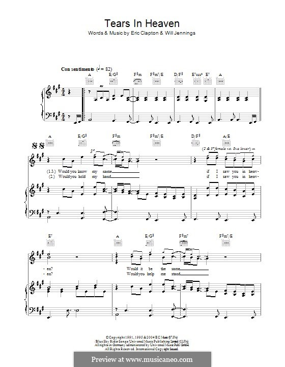 Tears in Heaven: For voice and piano or guitar (high quality sheet music) by Eric Clapton, Will Jennings