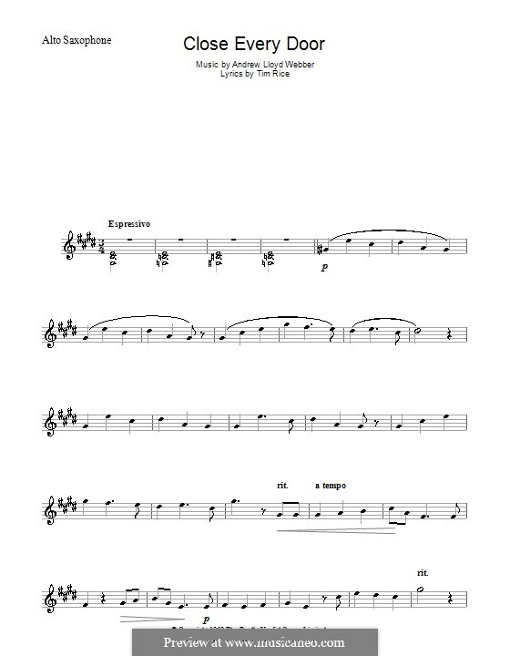 Close Every Door: For alto saxophone by Andrew Lloyd Webber