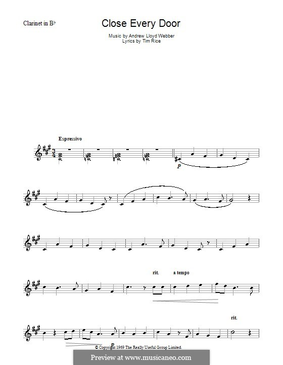 Close Every Door: For clarinet by Andrew Lloyd Webber