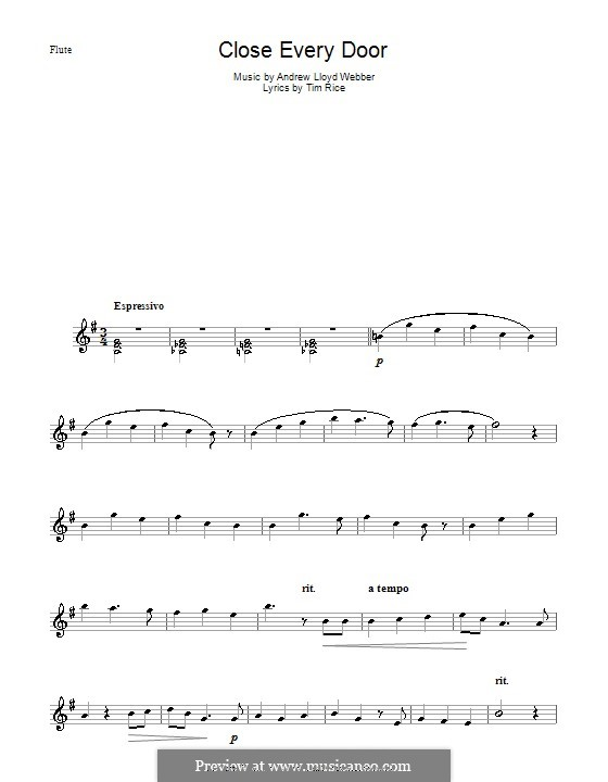 Close Every Door: For flute by Andrew Lloyd Webber