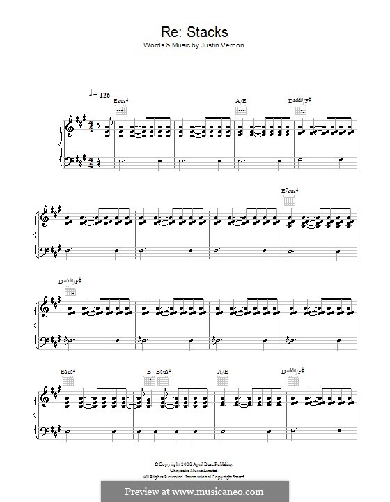 beth rest bon iver piano sheet music pdf
