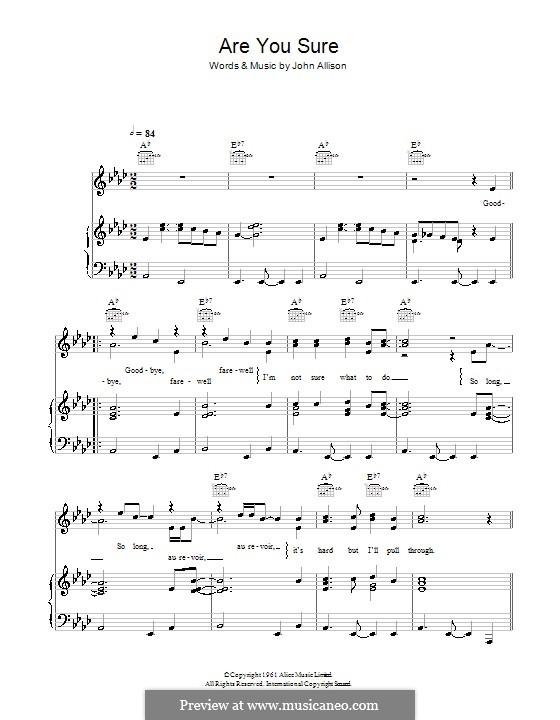 Are You Sure (The Allisons): For voice and piano (or guitar) by John Allison