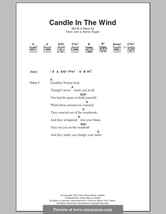 Candle in the Wind: Lyrics and chords by Elton John