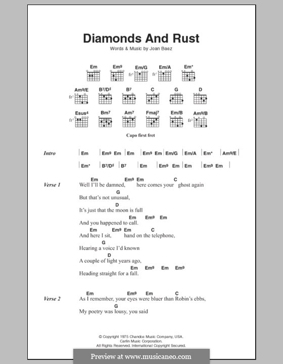 Diamonds and Rust: Lyrics and chords by Joan Baez