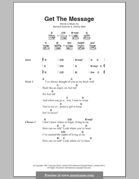 Get the Message (Electronic): Lyrics and chords by Bernard Sumner, Johnny Marr