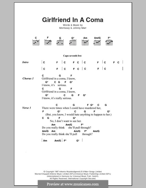 Girlfriend in a Coma (The Smiths): Lyrics and chords by Morrissey, Johnny Marr