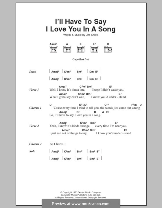 I'll Have to Say I Love You in a Song: Lyrics and chords by Jim Croce
