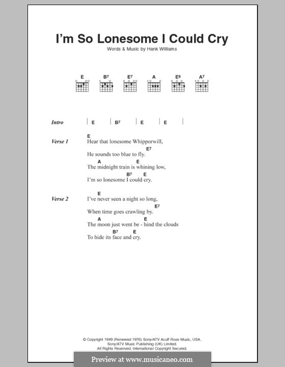 I'm So Lonesome I Could Cry: Lyrics and chords by Hank Williams