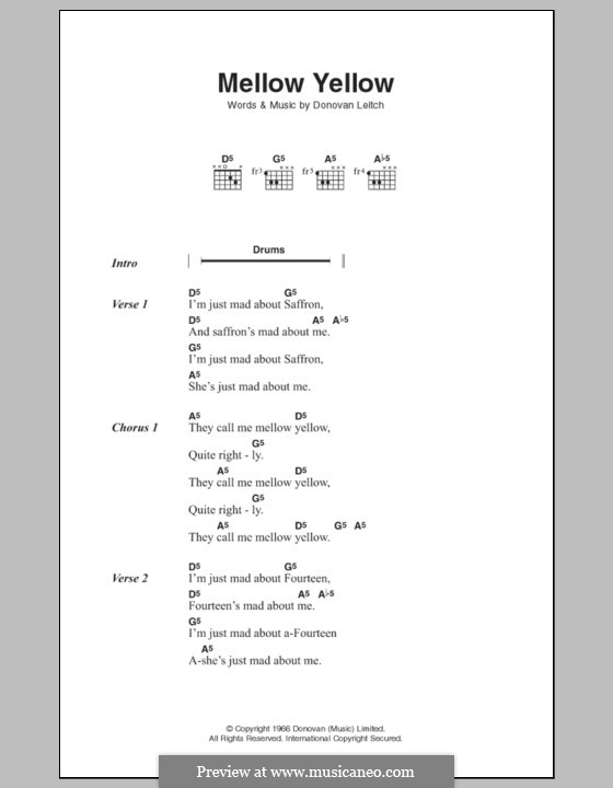 Mellow Yellow: Lyrics and chords by Donovan Leitch