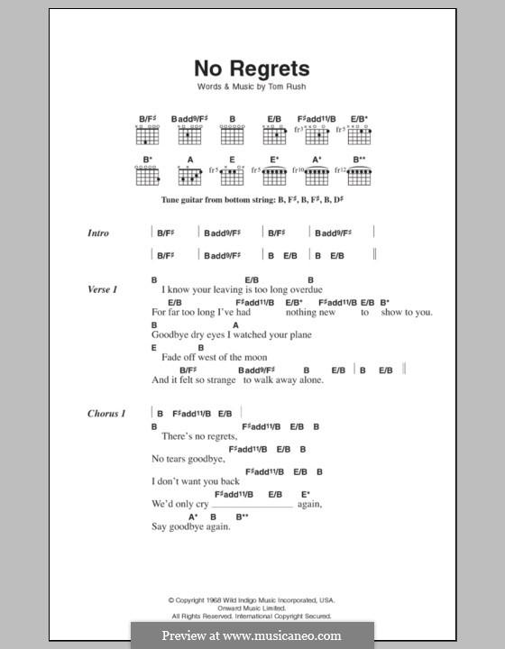 No Regrets (Scott Walker): Lyrics and chords by Tom Rush