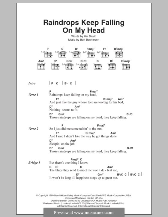 Raindrops Keep Fallin' on My Head (from Butch Cassidy and The Sundance Kid): Lyrics and chords by Burt Bacharach
