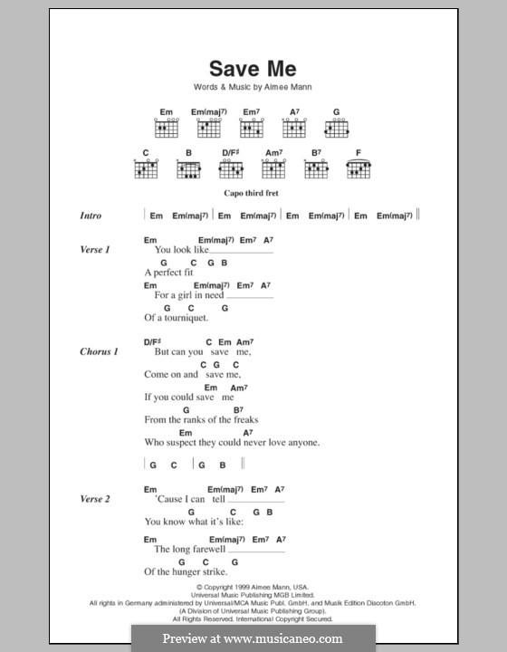 Save Me: Lyrics and chords by Aimee Mann