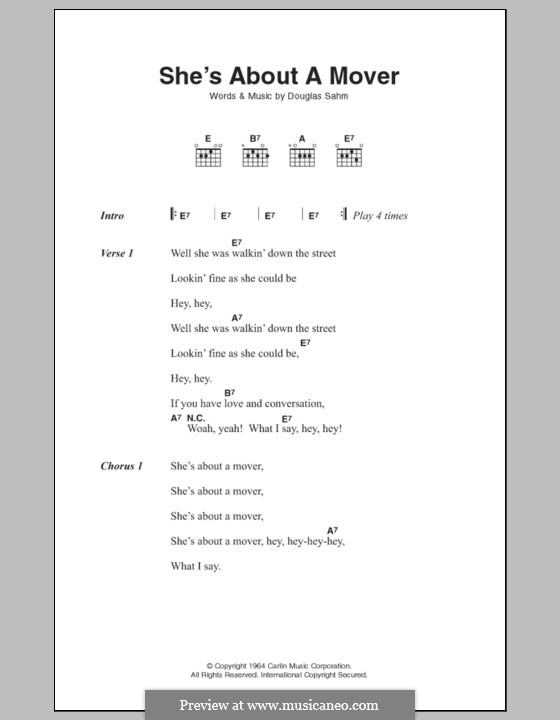She's About a Mover (The Sir Douglas Quintet): Lyrics and chords by Douglas Sahm