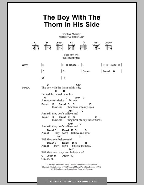 The Boy with the Thorn in His Side: Lyrics and chords by Morrissey, Johnny Marr