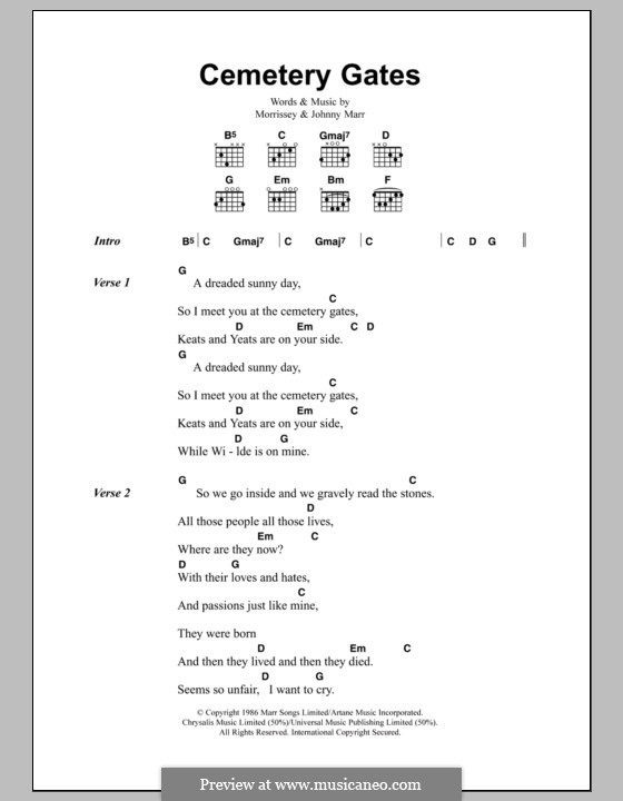 Cemetery Gates (The Smiths): Lyrics and chords by Morrissey, Johnny Marr
