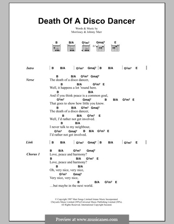 Death of a Disco Dancer (The Smiths): Lyrics and chords by Morrissey, Johnny Marr