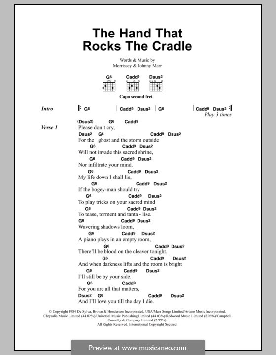 The Hand That Rocks the Cradle (The Smiths): Lyrics and chords by Morrissey, Johnny Marr