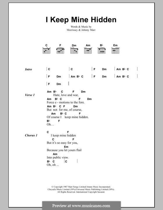 I Keep Mine Hidden (The Smiths): Lyrics and chords by Morrissey, Johnny Marr