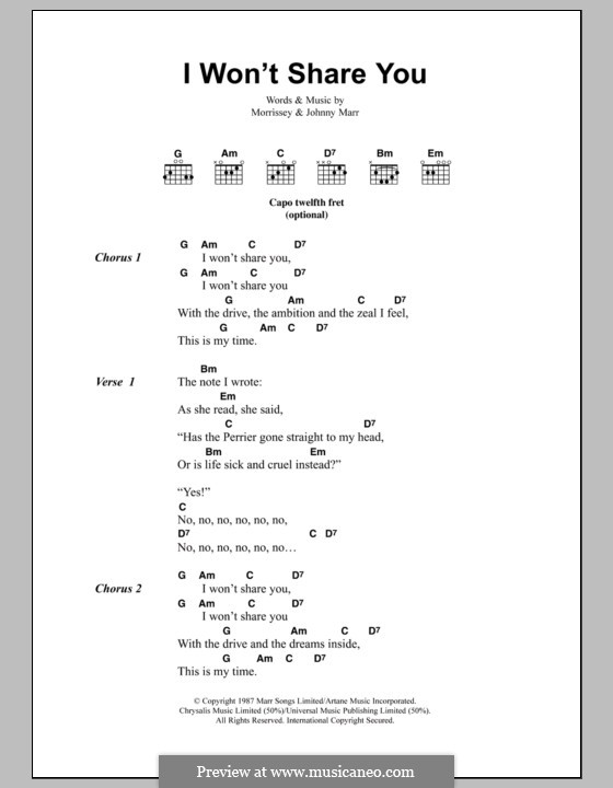 I Won't Share You (The Smiths): Lyrics and chords by Morrissey, Johnny Marr