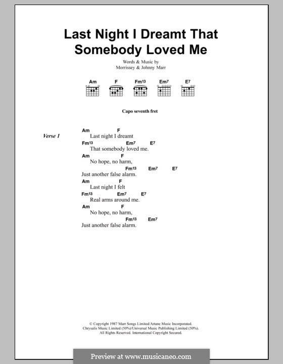 Last Night I Dreamt That Somebody Loved Me (The Smiths): Lyrics and chords by Morrissey, Johnny Marr