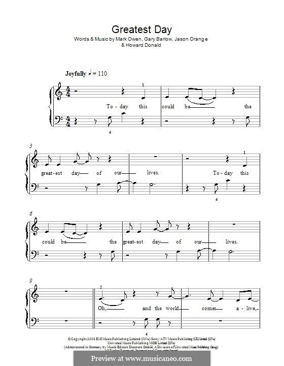 Greatest Day (Take That): For easy piano by Gary Barlow, Howard Donald, Jason Orange, Mark Owen