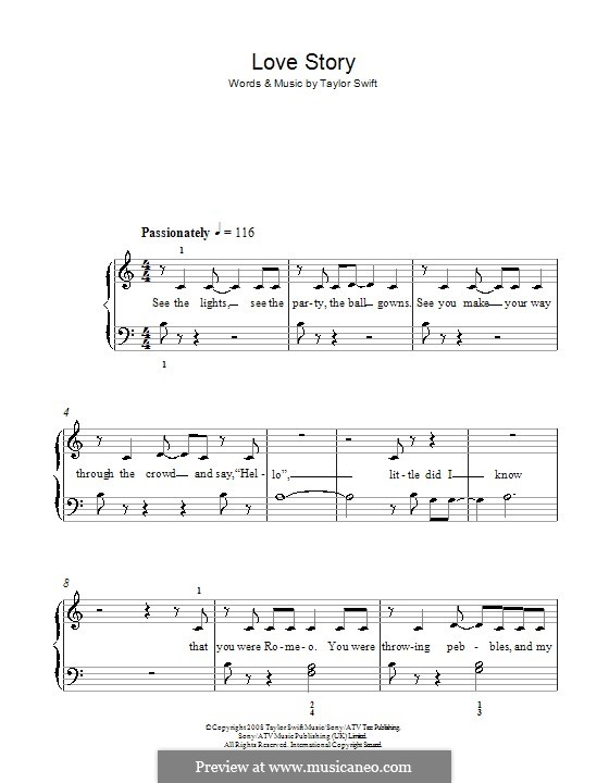 Love Story: For easy piano by Taylor Swift