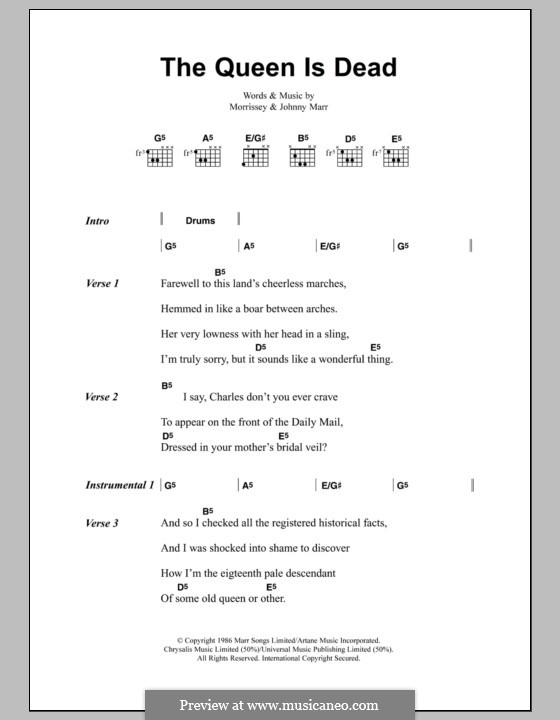 The Queen Is Dead (The Smiths): Lyrics and chords by Morrissey, Johnny Marr