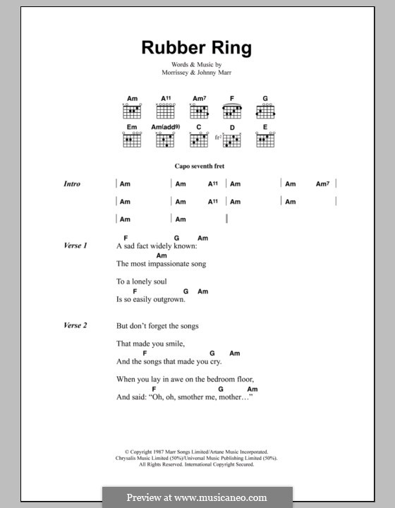 Rubber Ring (The Smiths): Lyrics and chords by Morrissey, Johnny Marr